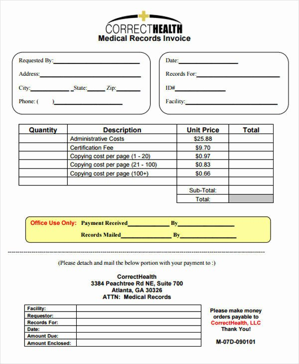Medical Records Invoice Template Awesome 6 Medical Invoice Samples – Examples In Word Pdf