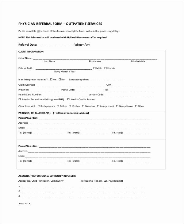 Medical Referral form Template Awesome 10 Sample Referral forms