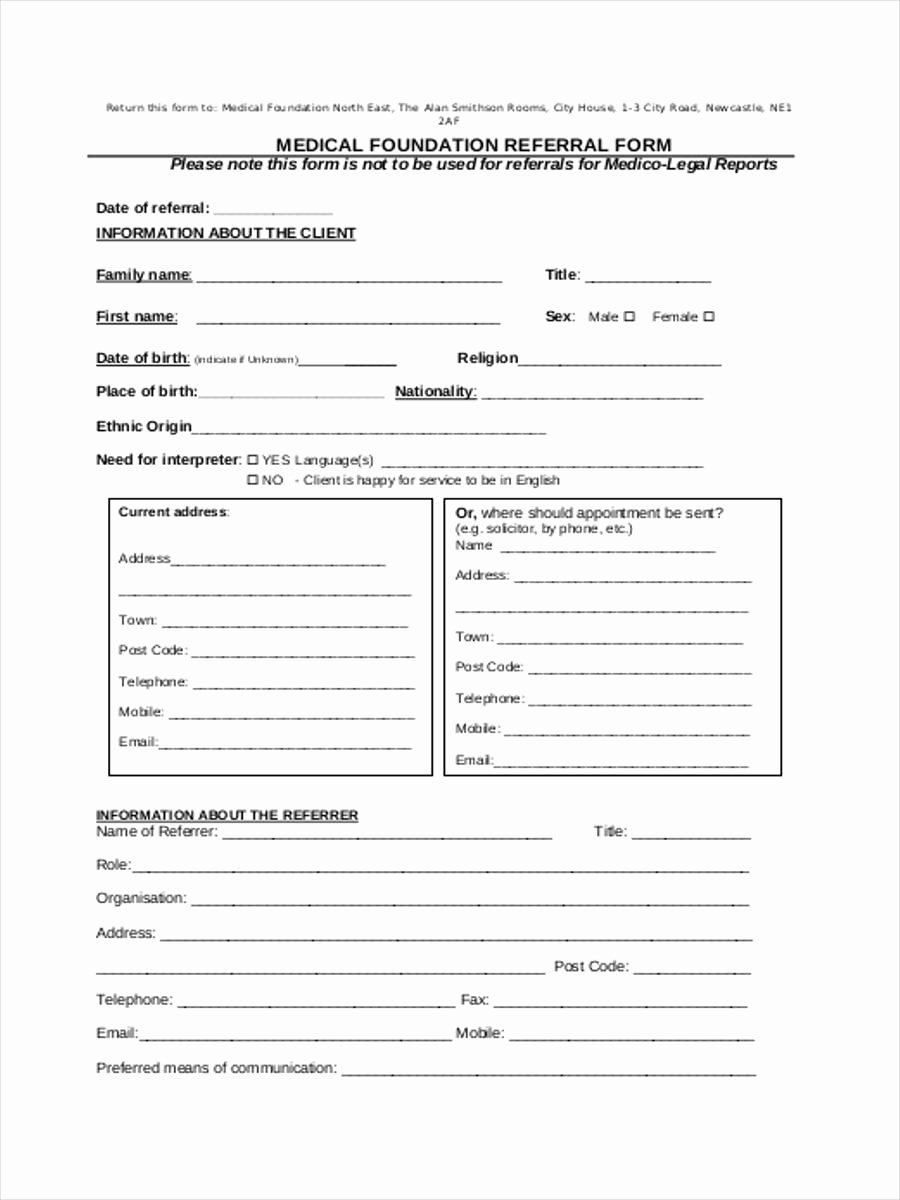 Medical Referral form Template Best Of Medical Referral form 8 Free Documents In Word Pdf