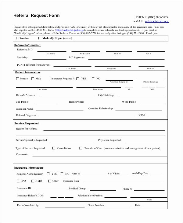 Medical Referral form Template Elegant 10 Sample Referral forms