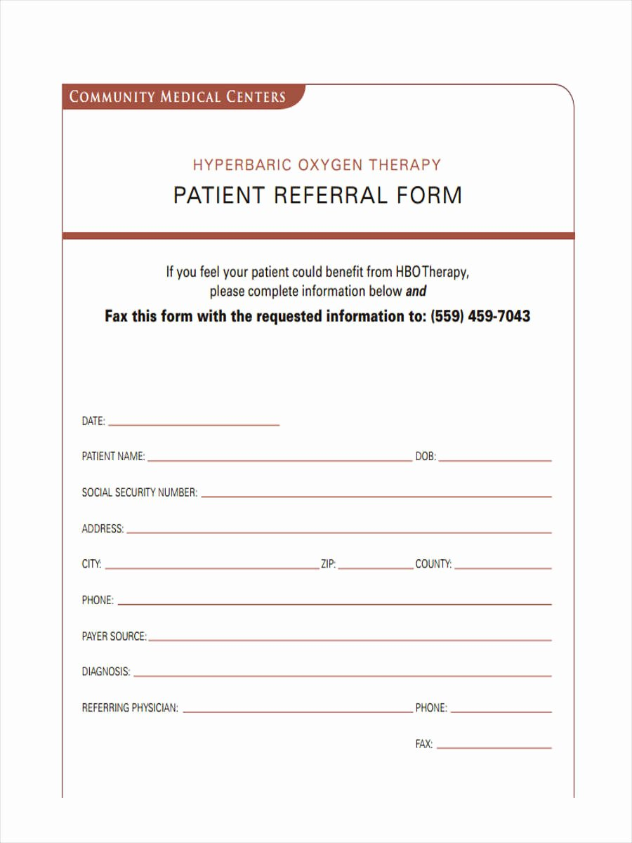 Medical Referral form Template Fresh 8 Medical Referral form Samples Free Sample Example