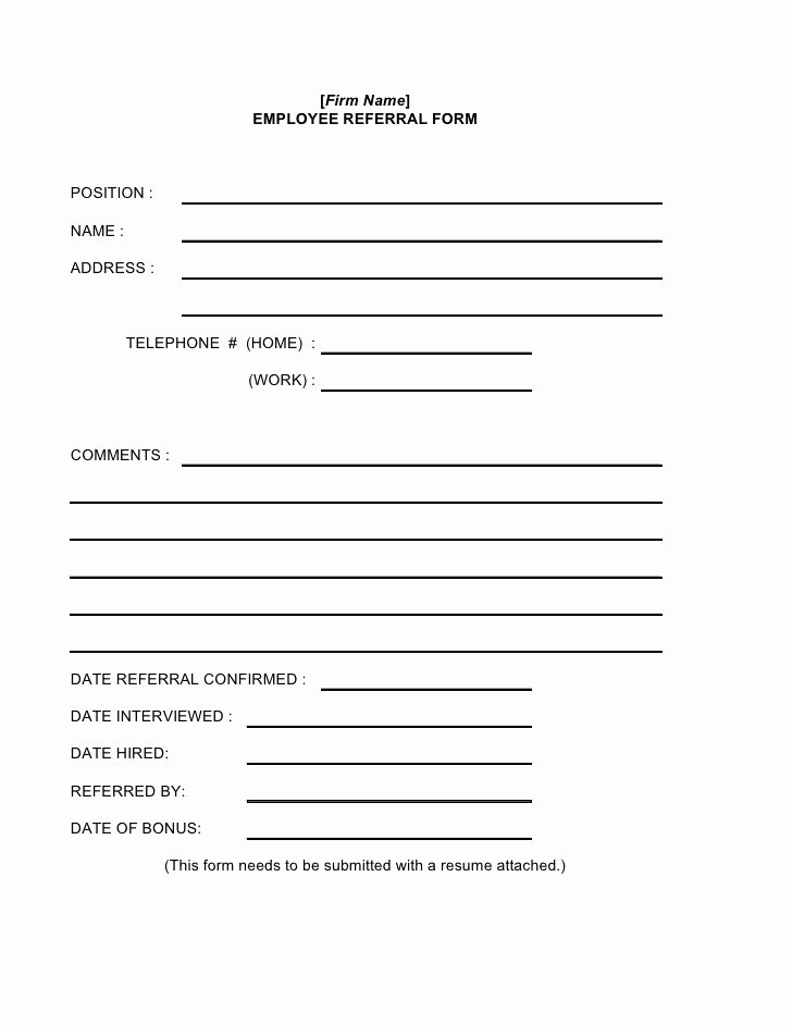 Medical Referral forms Template Luxury Employee Referral form