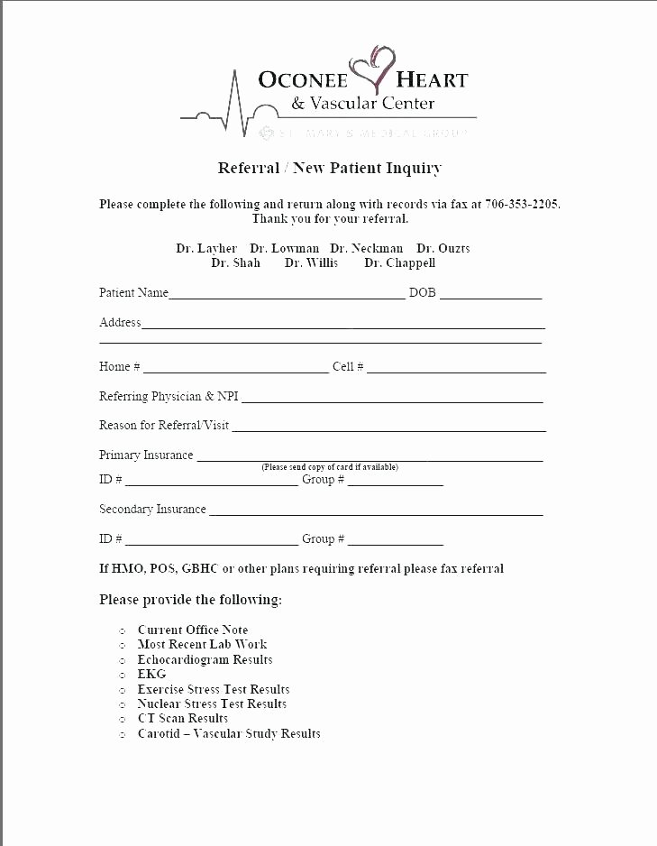 Medical Referral Letter Template Luxury Patient Referral form Template Free Medical Referral form