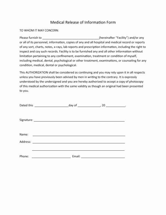 Medical Release form Template Elegant 40 Medical Records Release form Release Of Information