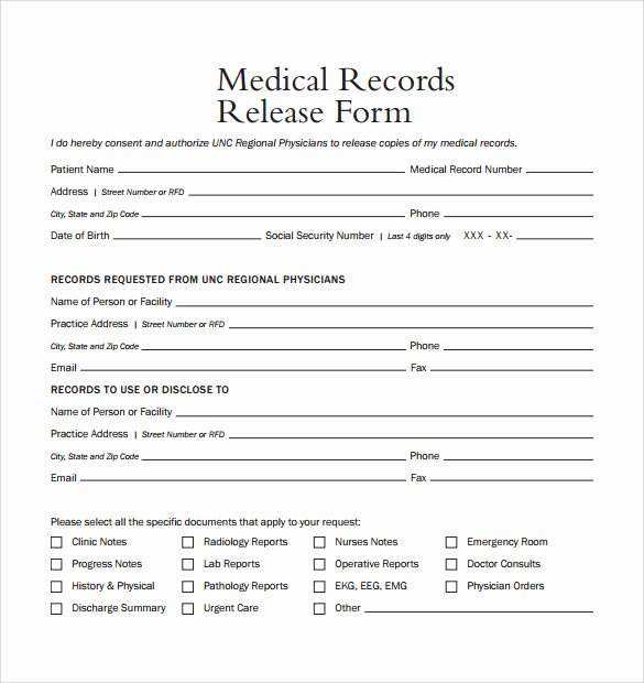 Medical Release form Template Fresh 10 Medical Records Release forms to Download