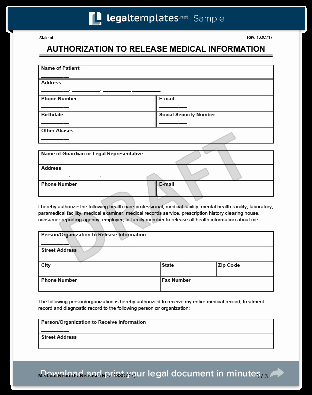 Medical Release form Template Fresh Medical Records Release form