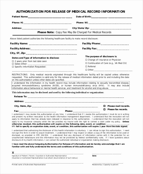 Medical Release form Template Inspirational 10 Printable Medical Authorization forms Pdf Doc