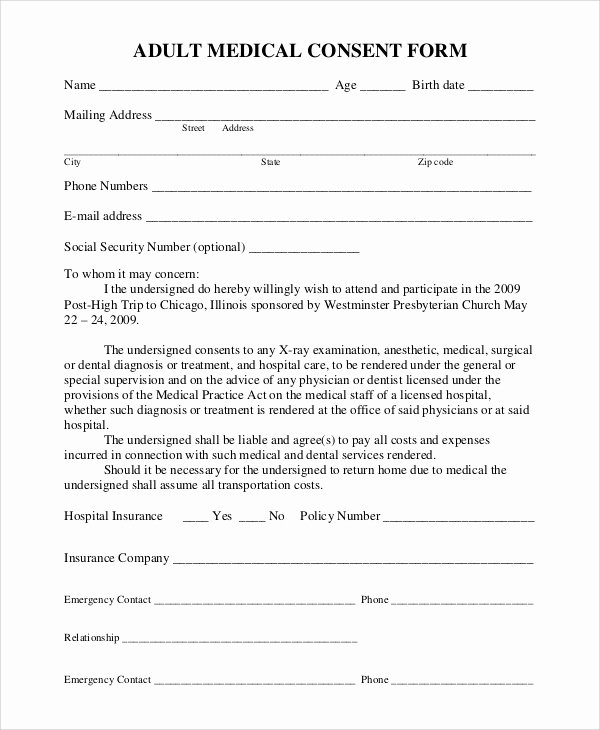 Medical Release form Template Lovely 9 Sample Medical Consent forms