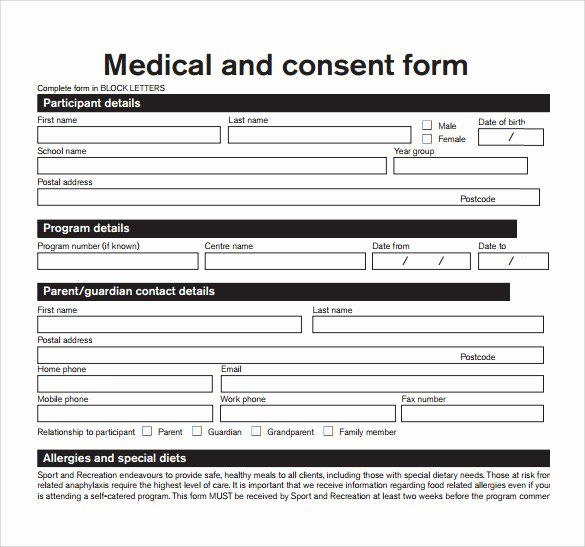 Medical Release form Template Luxury 14 Medical Consent form Templates – Free Samples