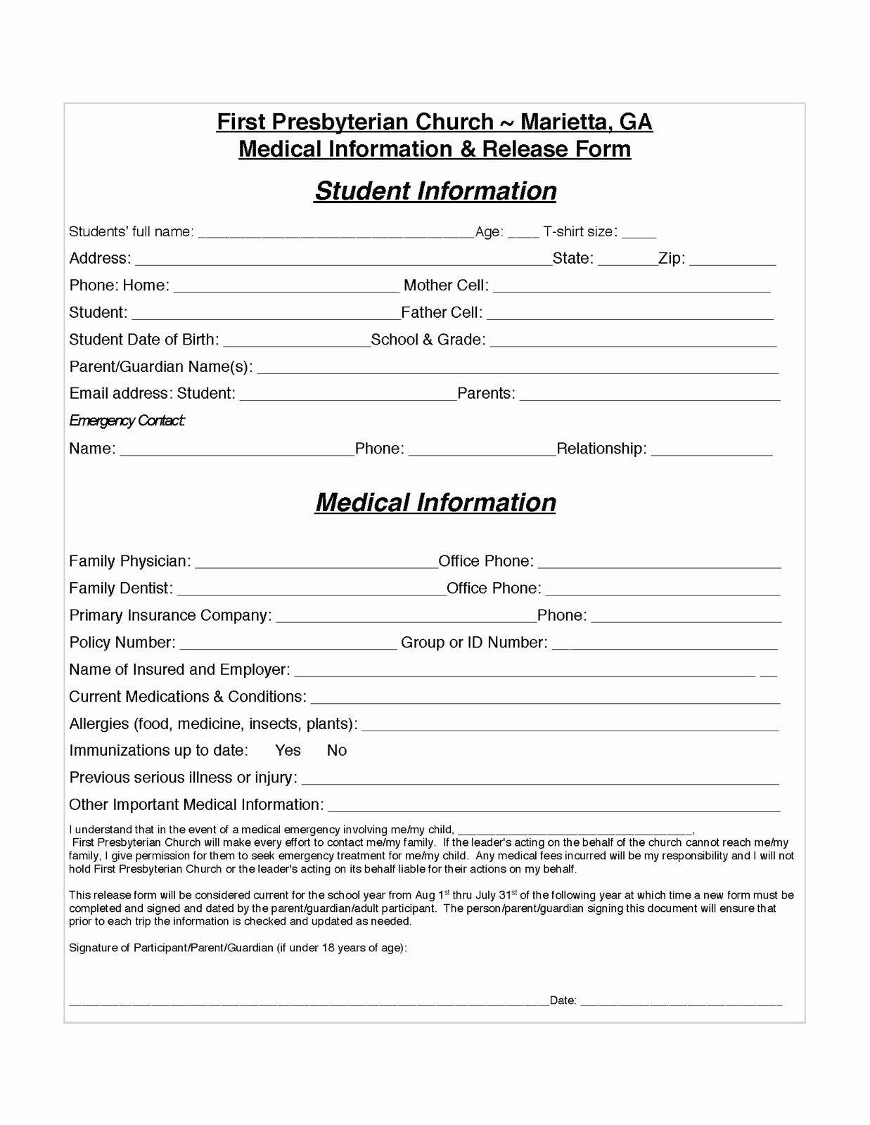 Medical Release form Template Luxury Release Information form Template Beepmunk