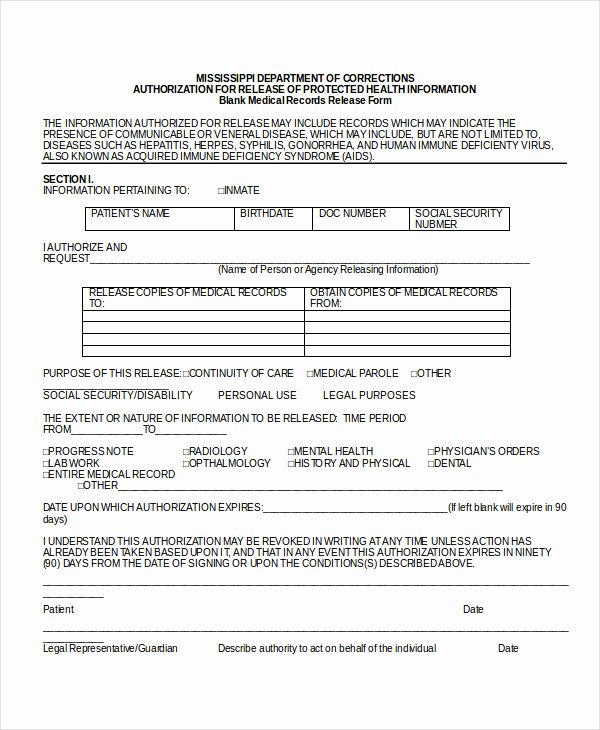 Medical Release form Template Luxury Release Medical Records form