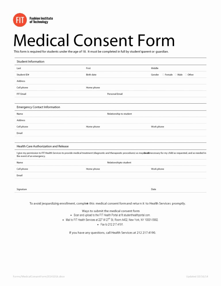 Medical Release form Template New 45 Medical Consent forms Free Printable Templates