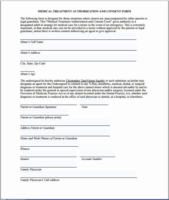 Medical Release form Template Unique Sample Medical Consent form
