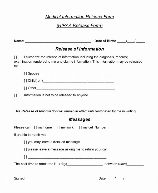 Medical Release form Template Unique Sample Medical Information Release form 7 Examples In