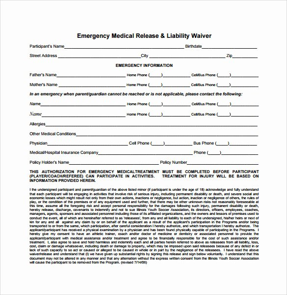 Medical Release forms Template Awesome 9 Liability Release forms – Samples Examples & formats