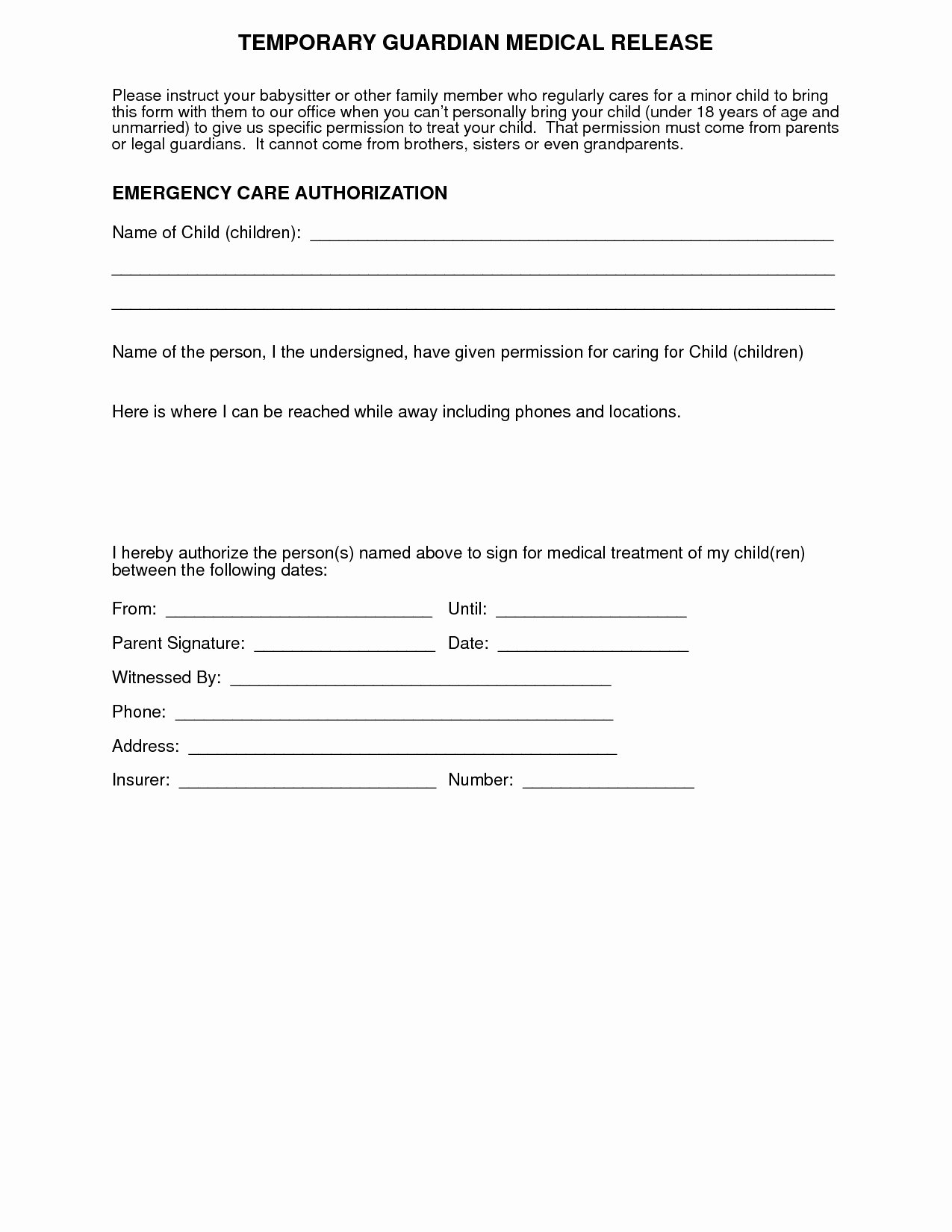 Medical Release forms Template Best Of Medical Consent Letter for Grandparents Template