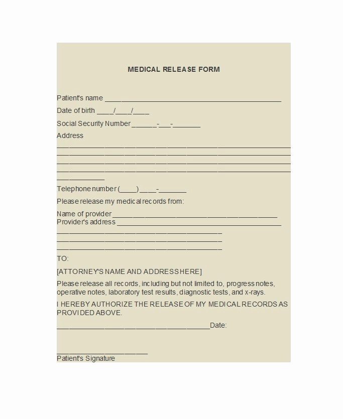 Medical Release forms Template Lovely 30 Medical Release form Templates Template Lab
