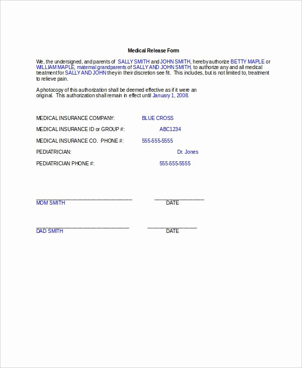 Medical Release forms Template Luxury 10 Medical Release forms Free Sample Example format
