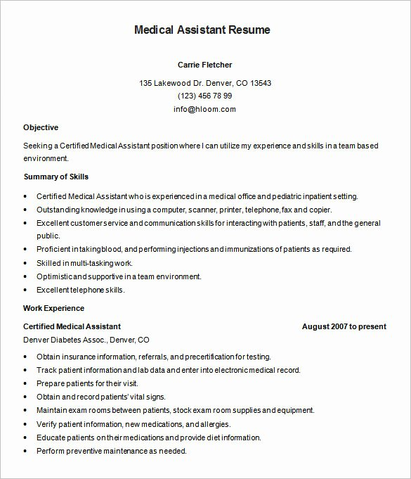 Medical Resume Template Free Beautiful 5 Medical assistant Resume Templates Doc Pdf
