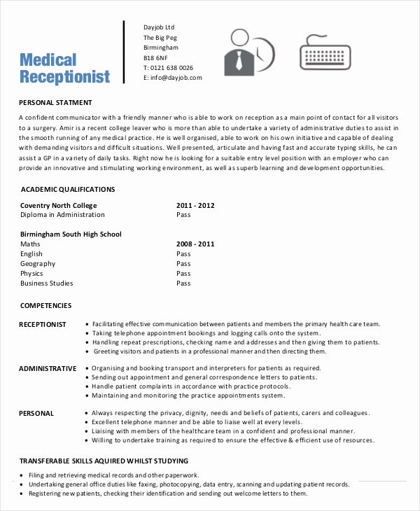 Medical Resume Template Free Beautiful 5 Medical Receptionist Resume Templates Pdf Doc