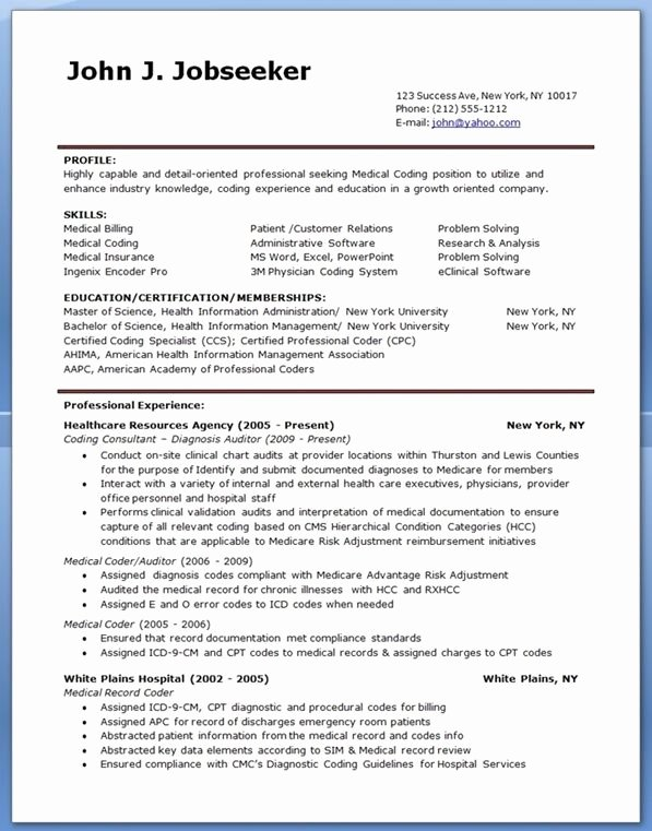 Medical Resume Template Free Beautiful Medical Billing and Coding Resume