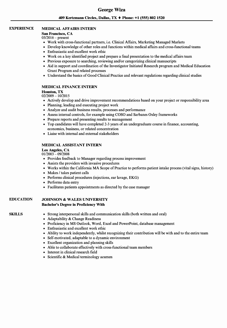 Medical Resume Template Free Best Of Examples Medical Resumes Sarahepps