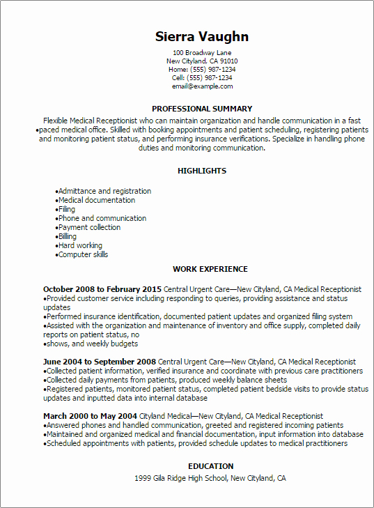 Medical Resume Template Free Elegant Professional Medical Receptionist Resume Templates to