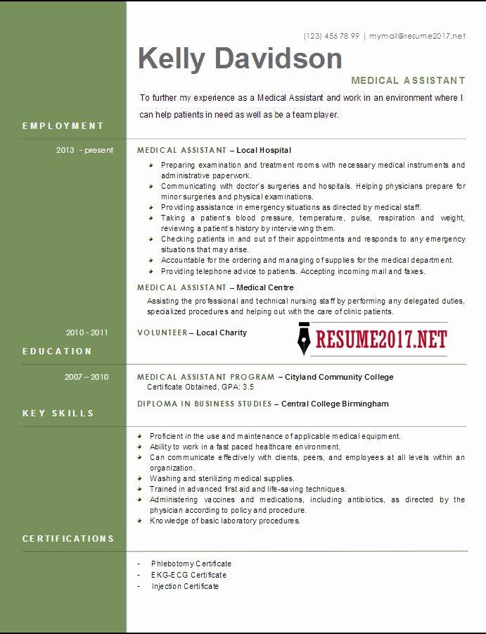 Medical Resume Template Free Elegant top 6 Medical assistant Resume Templates 2017