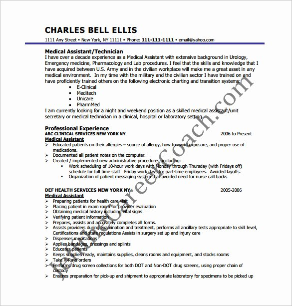 Medical Resume Template Free Inspirational Medical assistant Resume Template – 8 Free Word Excel