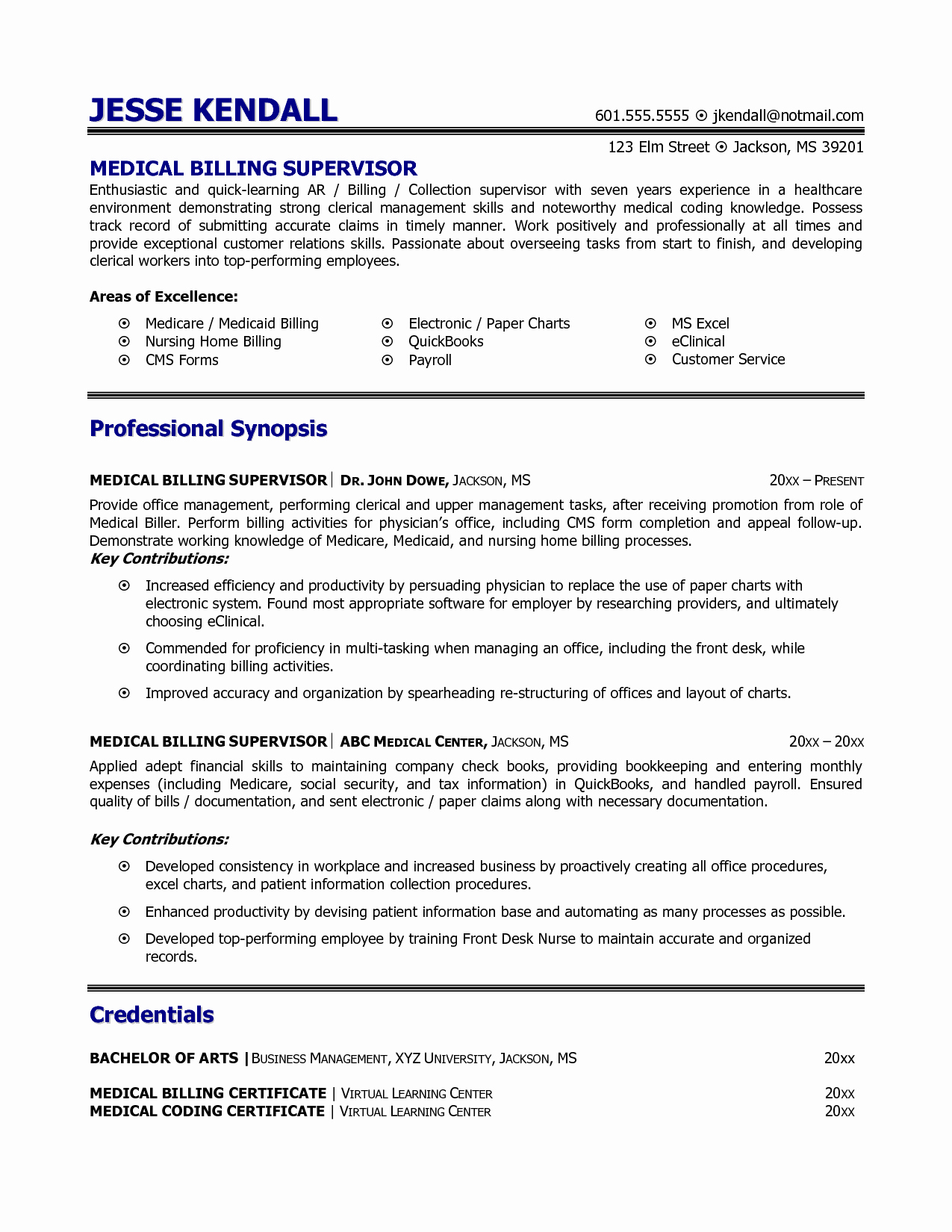 Medical Resume Template Free Lovely Medical Billing and Coding Resume Example