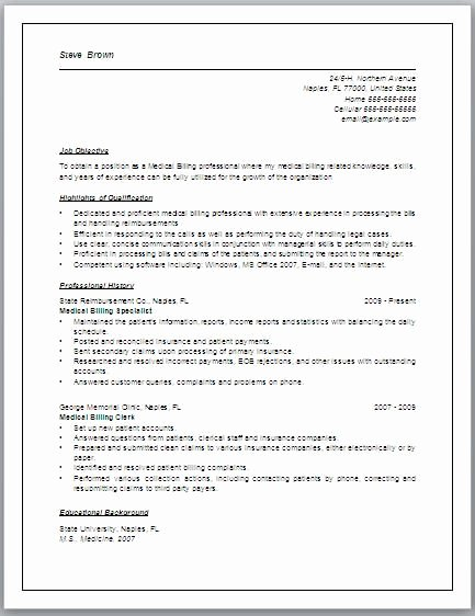 Medical Resume Template Free Luxury Job Description for Medical Billing Resume May Include