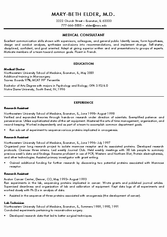 Medical Resume Template Free Luxury Medical Doctor Resume Example