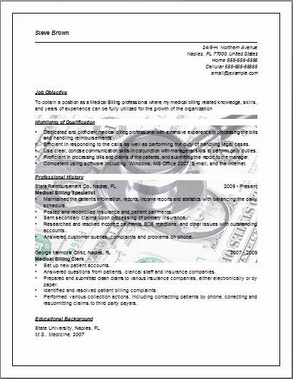 Medical Resume Template Free New Medical Billing Resume Sample Job Resume Layout