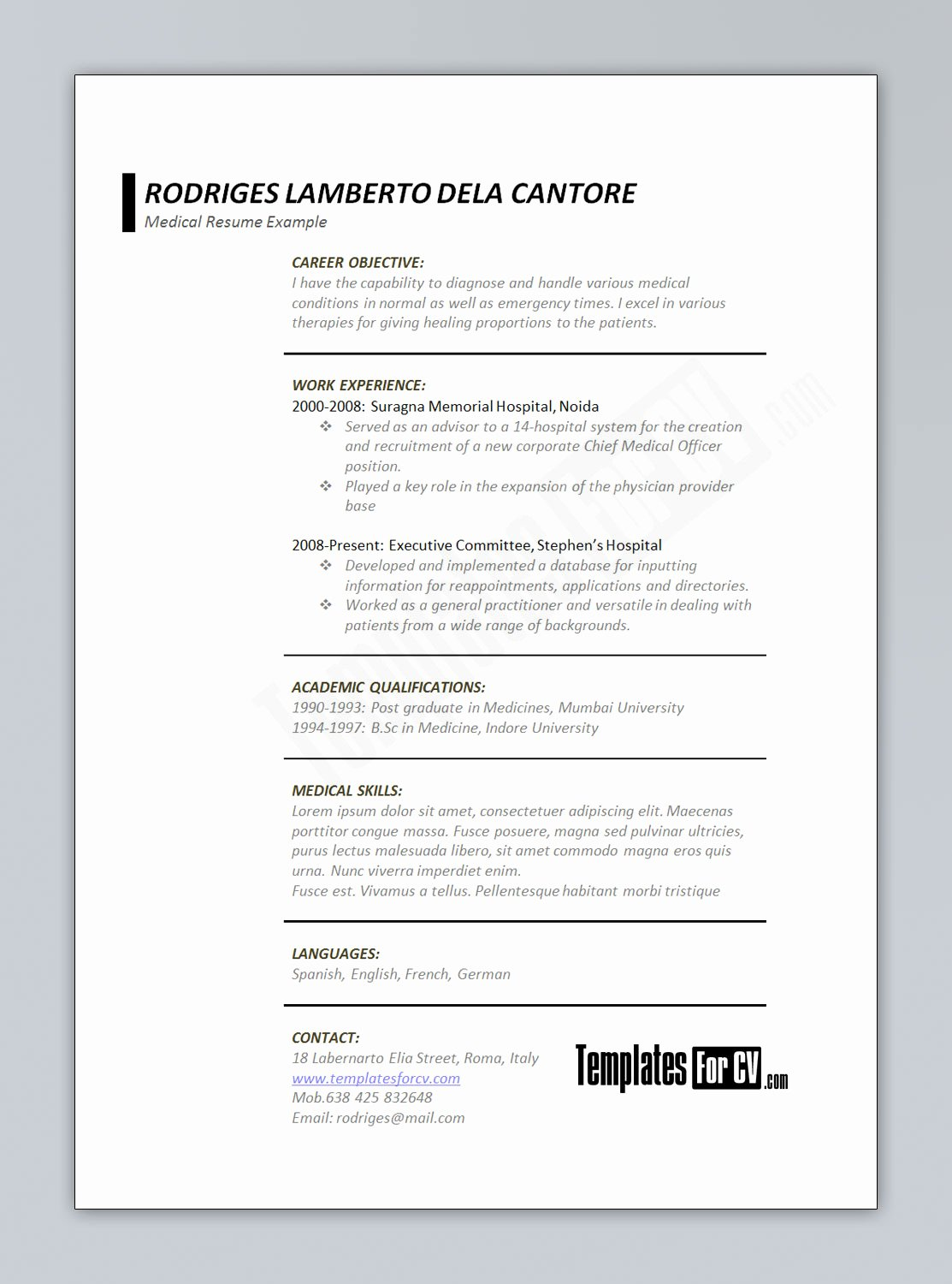 Medical Resume Template Free New Template for Cv – Medical