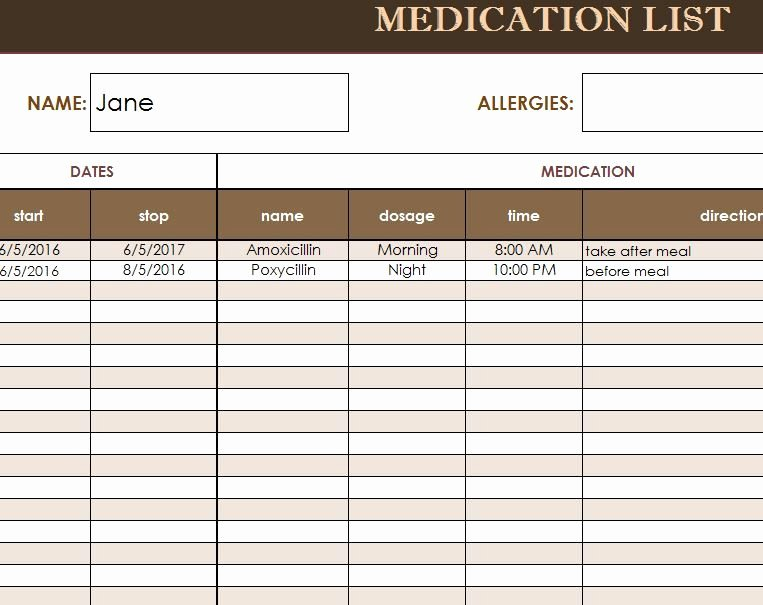 Medication Administration Record Template Luxury Free Medication Administration Record Template Excel