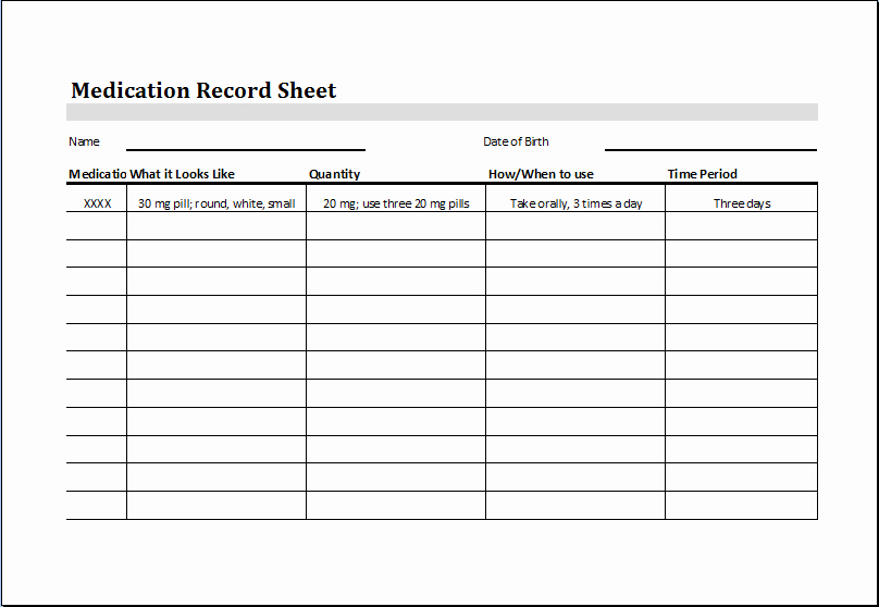 Medication Administration Records Template New Medication Record Sheet – Word & Excel Templates