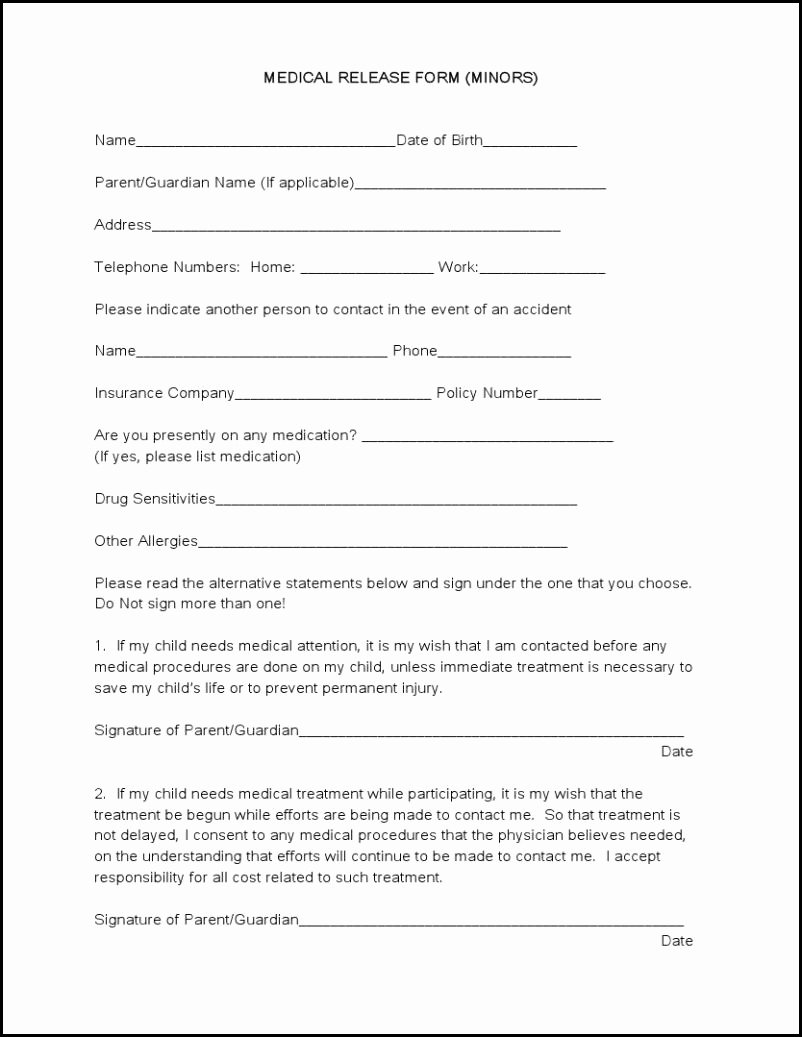 Medication Release form Template Awesome 7 Best Of Free Printable Medical Release form