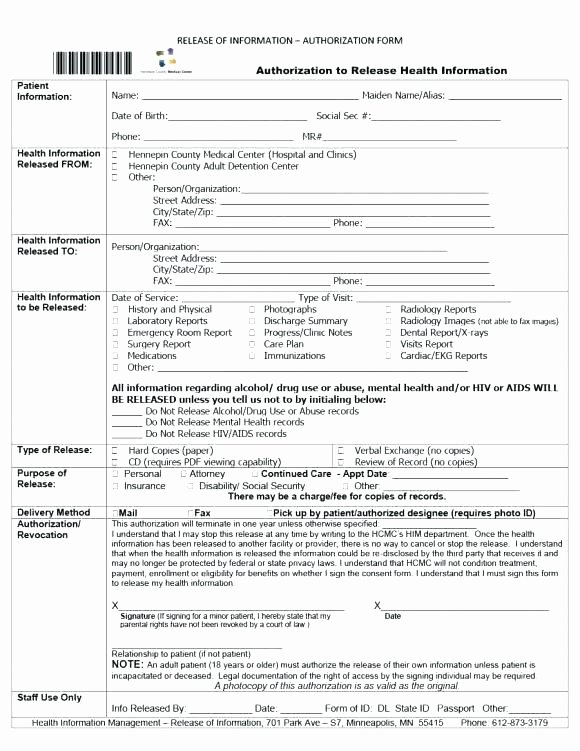 Medication Release form Template Awesome Hospital Admission form Template Medical Release Sample