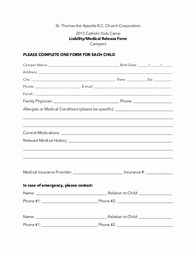 Medication Release form Template Best Of Additional Camper Liability Medical Release form