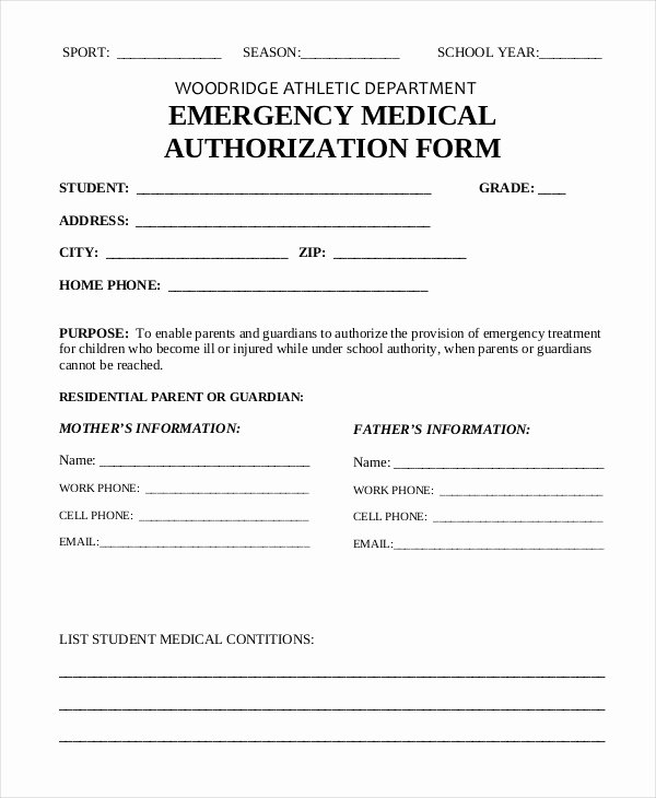 Medication Release form Template Elegant Medical Authorization form
