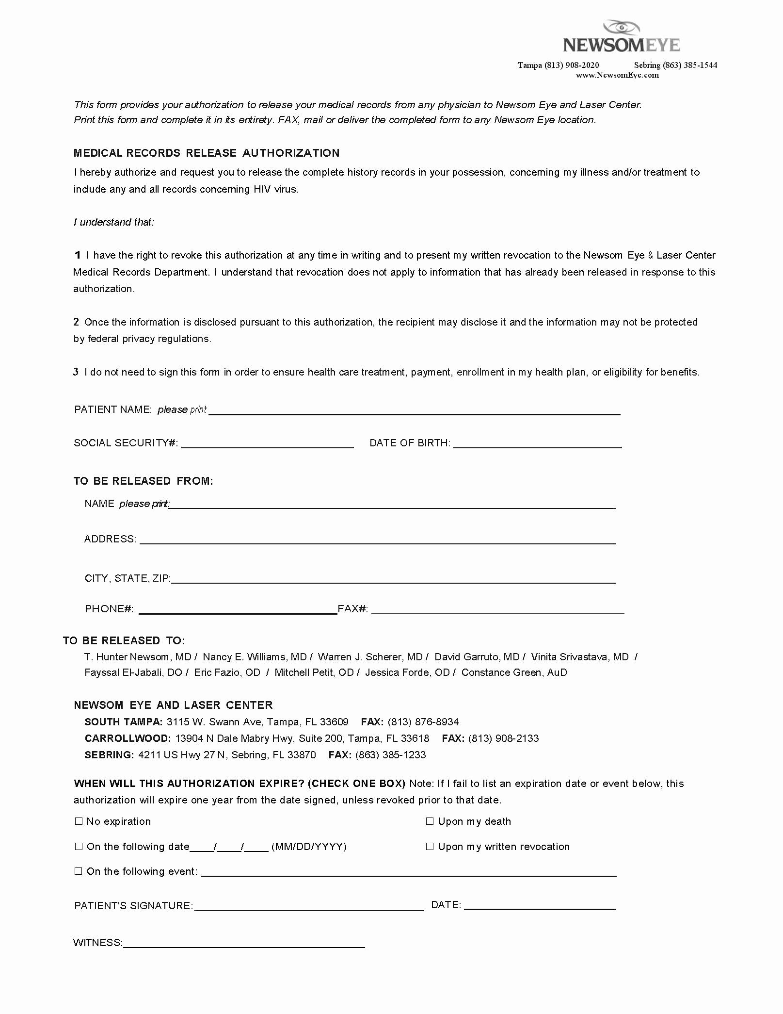 Medication Release form Template Elegant Patient Medical Release forms