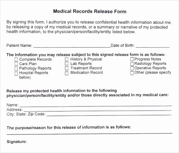 Medication Release form Template Fresh 11 Medical Records Release forms – Samples Examples
