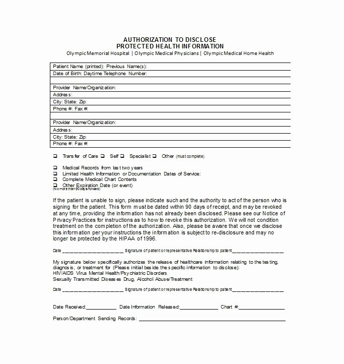 Medication Release form Template Fresh 30 Medical Release form Templates Free Template Downloads