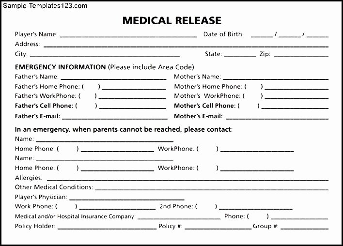 Medication Release form Template Fresh Medical Release form