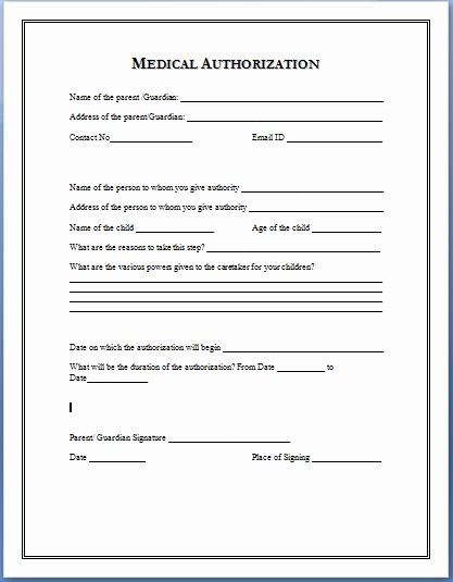 Medication Release form Template Fresh Sample Medical Authorization form Templates