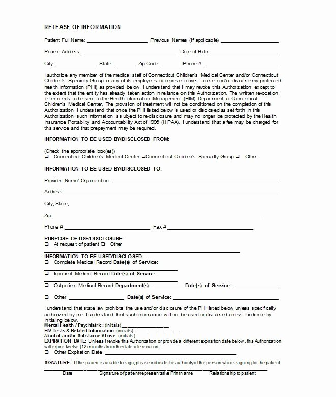 Medication Release form Template Inspirational 30 Medical Release form Templates Free Template Downloads