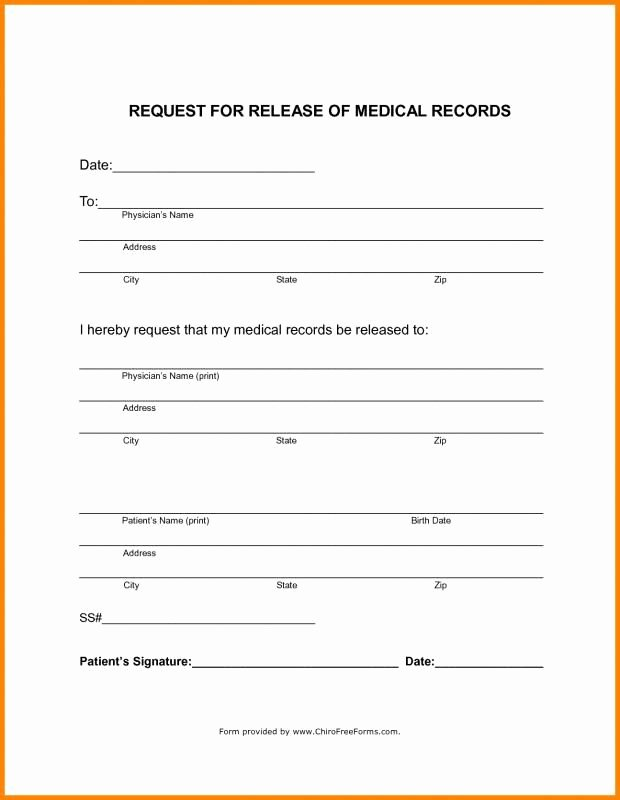 Medication Release form Template Inspirational Blank Medical Records Release form Template