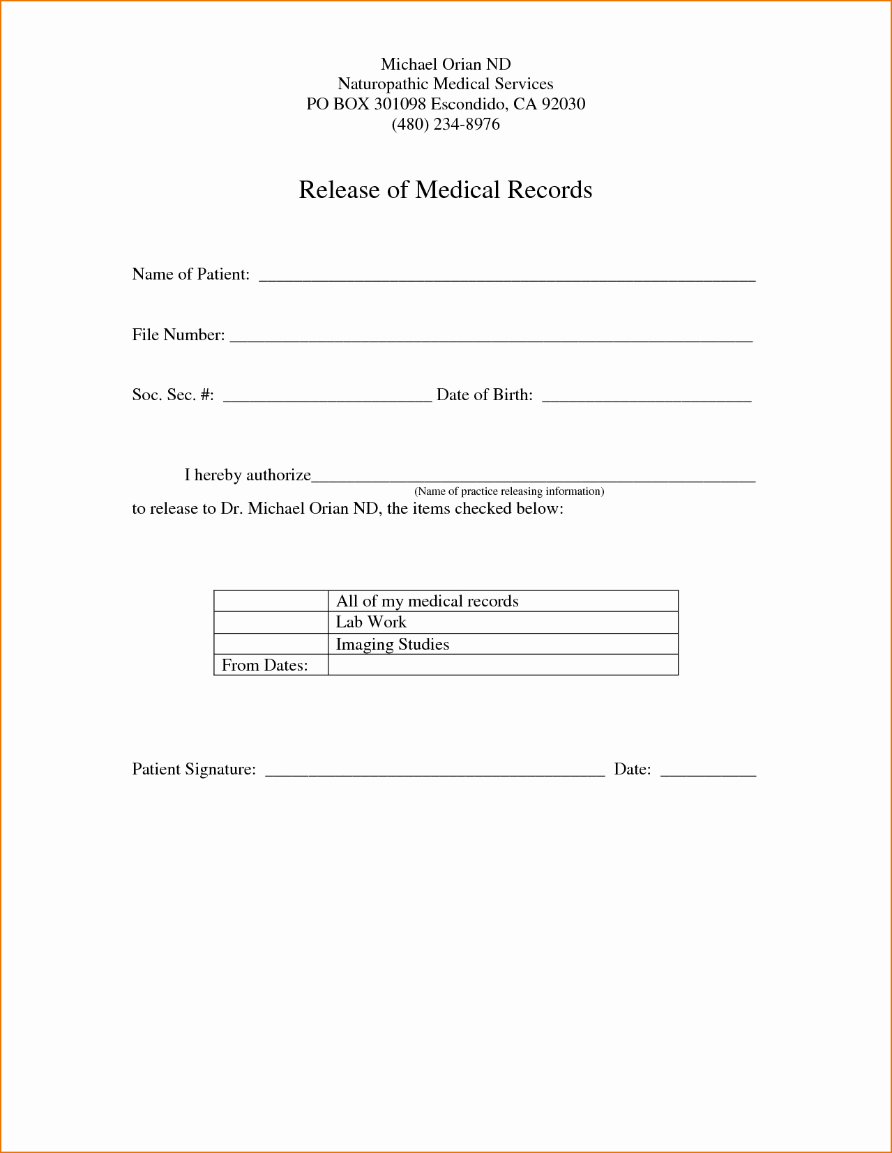 Medication Release form Template Inspirational Medical Record Release form Template