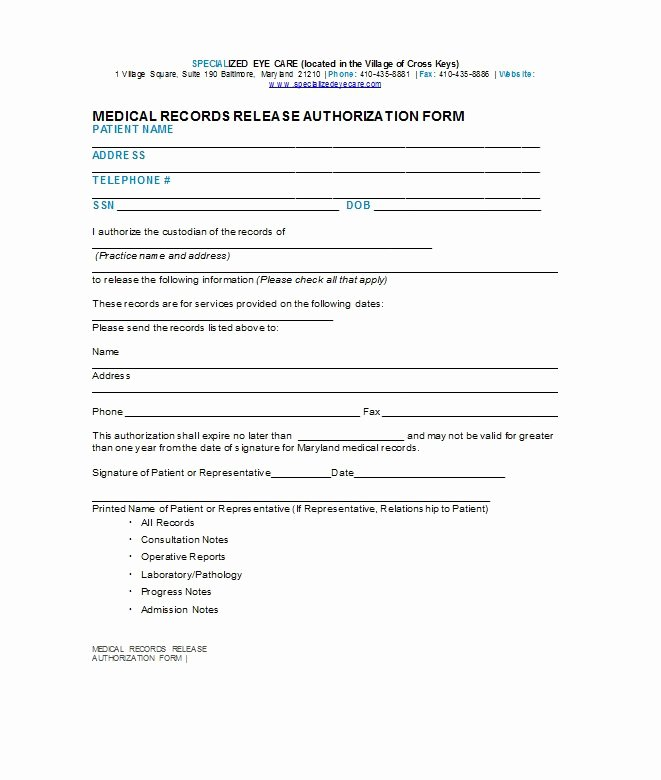 Medication Release form Template Luxury 30 Medical Release form Templates Free Template Downloads