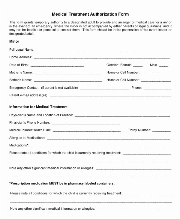 Medication Release form Template New 10 Printable Medical Authorization forms Pdf Doc